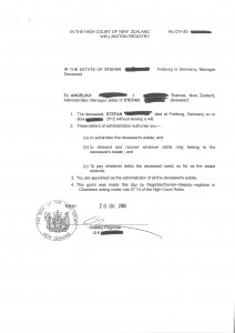 Beispiel Erbschein Neuseeland Example Grant of Probate New Zealand_2